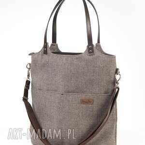 duża torba na ramię brązowy melanż, torba, torebka ramię, codzień