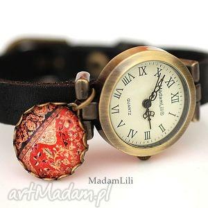 Orientalny dywan zegarek z prawdziwej skóry, skóra, zegarek, orient,
