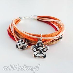 bransoletka kwiatuszek boho style - ,bransoletka,kwiatuszek,boho,etno,brązowa,