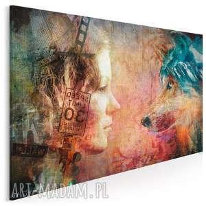 obraz na płótnie - kobieta wilk 120x80 cm 42201, kobieta, wilk, kolaż