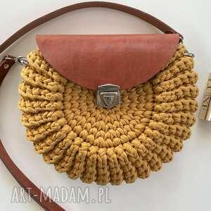 hand-made na ramię szydełkowa damska torebka oreo kolor miód