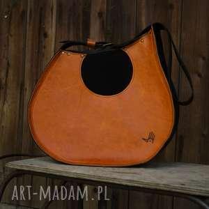na ramię janis skórzana torba inspirowana gitarą pomarańczowy brąz, gitara