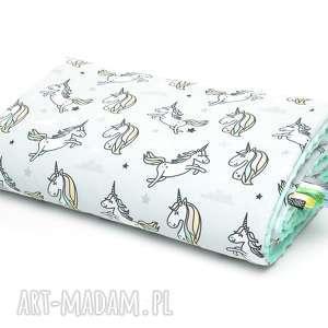 handmade dla dziecka kocyk kołderka 100x135 minky bawełna jednorożce / mięta