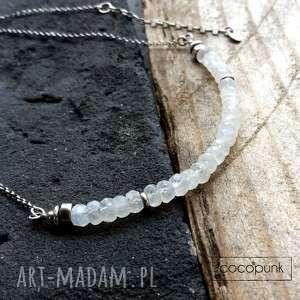SREBRO I KAMIEŃ KSIĘŻYCOWY- Nowoczesny krótki naszyjnik., biały, kamień-księżycowy,