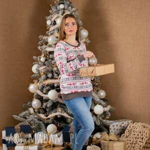 ręcznie wykonane pomysły na upominki świąteczne świąteczna bluza damska chrisms szara