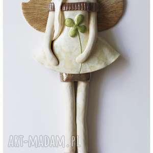Anioł wiszący z koniczyną szaliczkiem, ceramika, anioł, koniczyna
