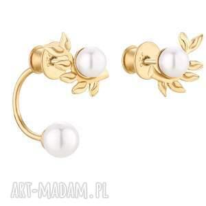złote asymetryczne kolczyki gałązki z perłami