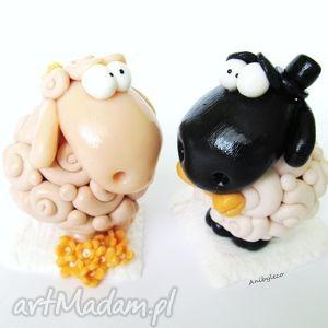 FIGURKI NA TORT ŚLUBNY dwie owieczki, figurka, tort, ślub, wesele, owce, modelina