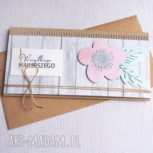 ręcznie zrobione kartki kartka kopertówka: pastelowa:: kwiecista