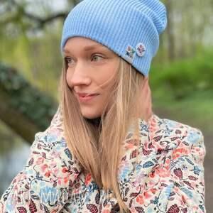 czapki czapka dwustronna logo kolorowe baby blue, slouchy, beanie slouchy