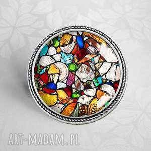 broszka z witraŻowĄ grafikĄ mosaic 2 - szklana, szkło, kaboszon, modna