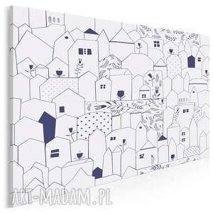 obraz na płótnie - domki minimalizm - 120x80 cm (67601)