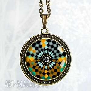 mozaikowa mandala - oryginalny długi naszyjnik - duży, mandale, prezent, brąz