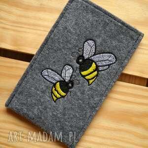 etui filcowe na telefon - pszczółki, smartfon, pokrowiec, futerał, haft