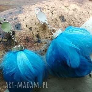 Klipsy pióra niebieskie lekkie boho-polecam box x1 ruda klara