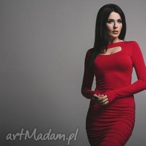 sukienka t160 z marszczeniami, czerwona - sukienka, marszczenia, wiskoza, kobieca