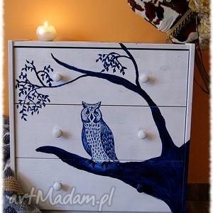 dom nocna sowa - ręcznie malowana komoda, sowa, szafka, półka, sypialnia