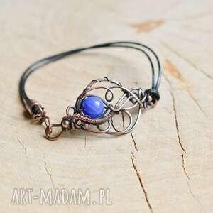 niebieska - bransoletka z agatem niebieskim, boho