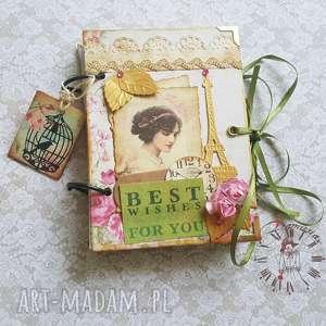 retro sekretnik/ pamiętnik, retro, róże, paryż, życzenia, prezent