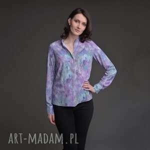 bluzki bluzka fioletowa ze stójką z długim rękawem, wygodna, kolorowa