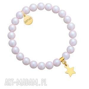 bransoletka z opalizujących pereł swarovski crystal ze złotą gwiazdką