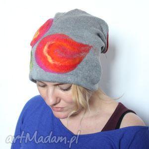 czapka handmade wełniana szara z kwiatem - czapka, damska, wełniana, szara