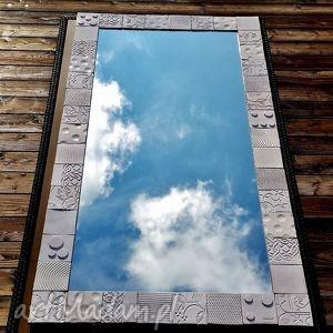 dom lustro w ramie z ceramicznych płytek, lustro, rama, płytki, kafle, mozaika