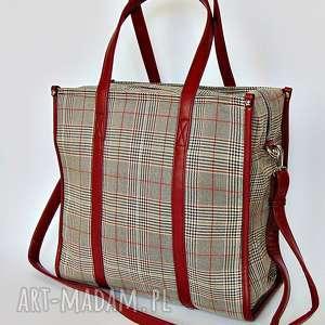handmade na ramię duża torba w kratę szrościach