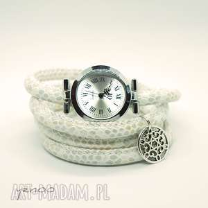 ręcznie wykonane zegarki zegarek, bransoletka - kremowy owijany, wężowy