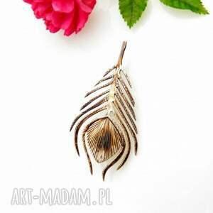 pawie pióro - broszka srebrna, broszka, biżuteria, pióro, prezent