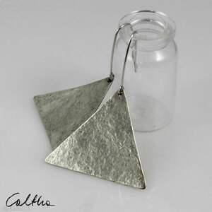 trójkąty - srebrne kolczyki 191029-01, kolczyki, klipsy, srebrne, wiszące