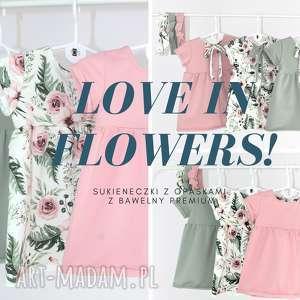 Sukienka flowers z opaska bawełny , kwiaty, bawełna,