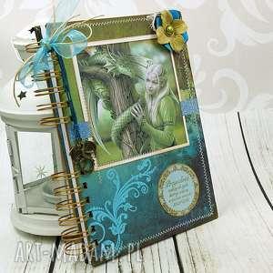 handmade scrapbooking notesy notatnik/pamiętnik - smoki i elfy