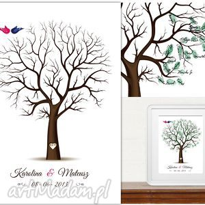 Drzewo wpisów gości weselnych : 50x70 cm i 3 tusze , ślub, wesele, księga,