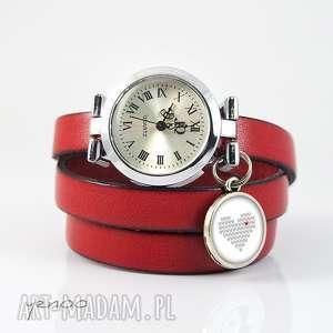 yenoo zegarek, bransoletka - serce dziergane czerwony, skórzany, zegarek