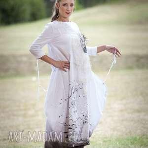 Lniana biała sukienka-malowana o3 sukienki esterka sukienka