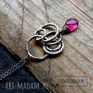 Srebro i kwarc różowy - długi naszyjnik naszyjniki cocopunk