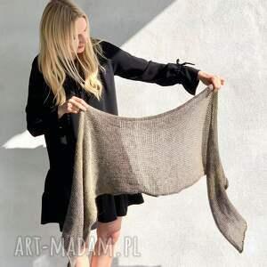 ręcznie robione szaliki szal khaki