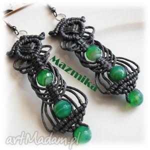 Gray& green- kolczyki makramowe - ,makrama,kolczyki,sznurek,agat,