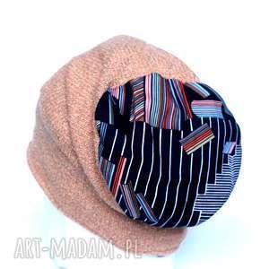 czapka miodowa wełniana damska - czapka, etno, kolorowa, narty, zima, damska
