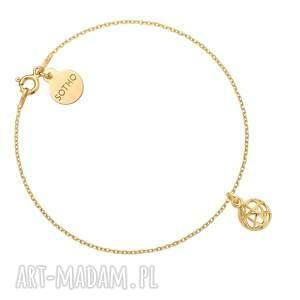 złota bransoletka z ozdobną zawieszką, łańcuszek, kulka, ażurowa, kuleczka
