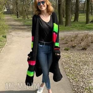 hand-made swetry wełniany kardigan