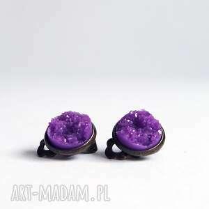 Klipsy - druzy fioletowe małe, brąz liliarts klipsy, druzy