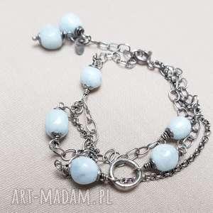 bransoletka ze srebra i akwamarynu, srebro, przyciemniane, biżuteria z kamienie