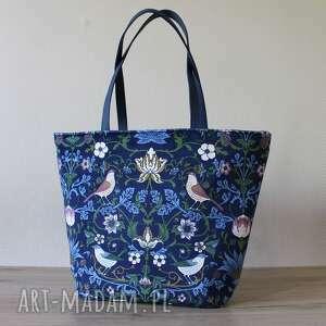 shopper bag łódka - rustykalne ptaszki, elegancka, nowoczesna, vintage, ptaszki