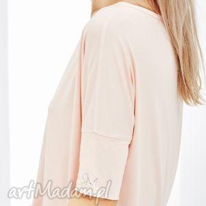 shemore bluzka z krótkim rękawem, różowa linda, bluzka, krótki, rękaw, ozdobne