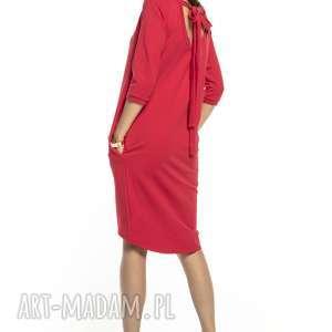 Elegancka sukienka wiązana z dekoltem na plecach, t298, czerwona
