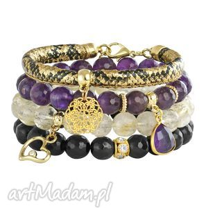 bransoletki violet,gold black, rzemień, ametyst, cytryn, rozeta