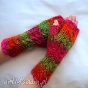 hand-made rękawiczki mitenki tęczowe