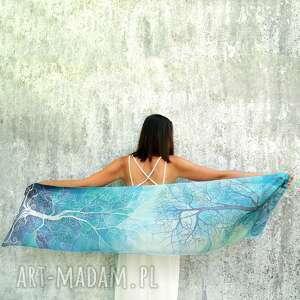 chustki i apaszki szal jedwabny miętowy błękit ręcznie malowany, malowany